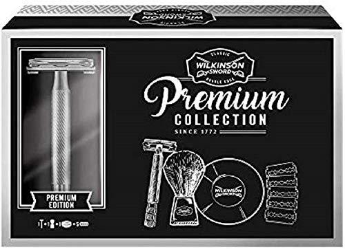 Wilkinson Sword Classic Geschenk Set Vintage Edition mit Herren Rasierer Rasierseife Rasierpinsel 5 Klingen