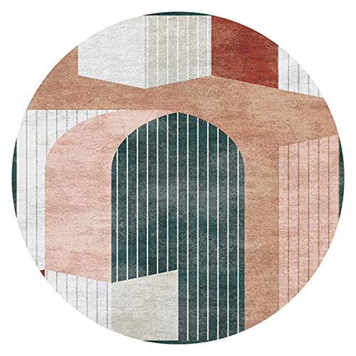 WJW-DT Tapis Rond, 160 cm x 160 cm, Motif géométrique, Orange/Gris/Beige, Tapis Salon Chambre à coucher-160 cm