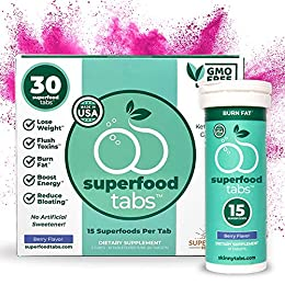 CURB CRAVINGS AND FIGHT BLOATING WITH A TASTY DRINK: Superfoods Company Superfood Tabs are fun, fizzy way to help you avoid snacking while you work toward your weight loss goals ADD SUPERFOOD TABS TO YOUR DAILY SUPPLEMENT REGIMEN: Box contains 30 tab...
