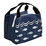 iSuperb Borsa Porta Pranzo Termico Grande Borsa Frigo Piccola Lunch Bag Impermeabile per Scuola e Ufficio 21×17×15 cm (Blu scuro)