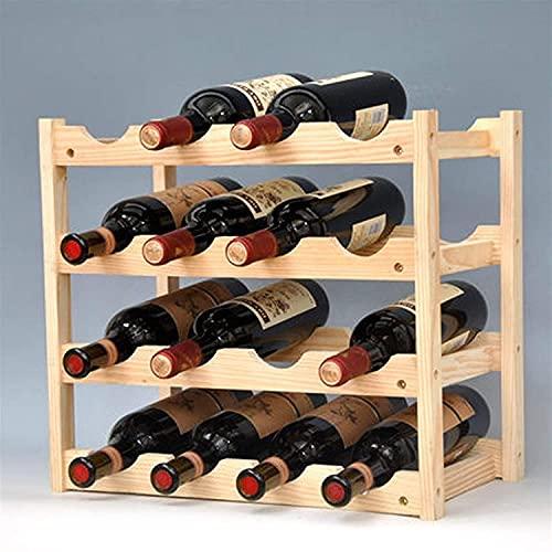 BGHDIDDDDD Novedad Wine Rack Estante de Vino Apilable de 4 Capas, Encimera de Madera Plegable, Estante de Alenamiento para Gabinete de Vino, Bodega, de Pie, para Bar, Bodega, Sótano, Gabinetes