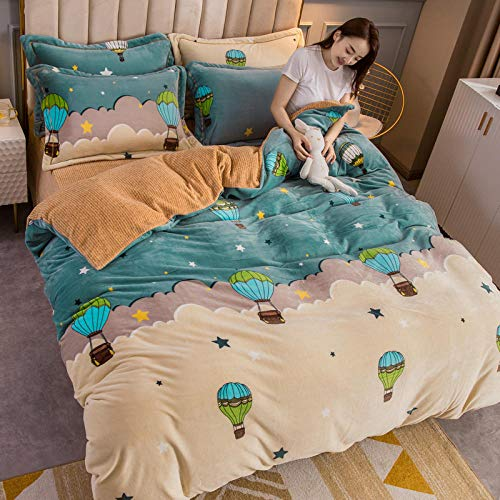 RESUXI teddy fleece bedding single blue,Four-piece flannel duvet cover for thick and warm double-sided fleece sheets in winter-Q_1.8m bed 4 pieces