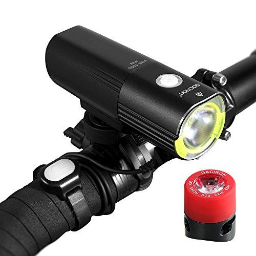 Gaciron LED Bicycle Light Set Ultra Bright 1000 Lumens Aluminum, USB Rechargeable Bike Front lights...