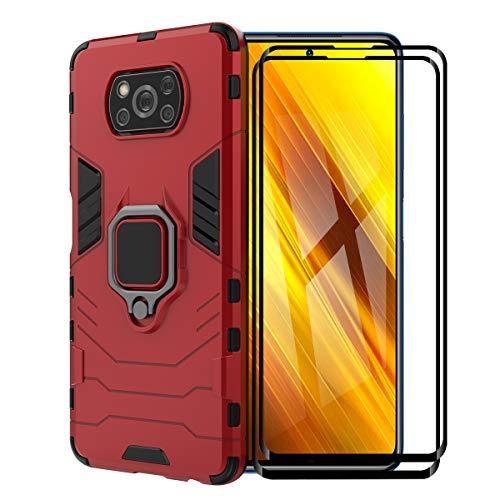 XIFAN Funda para Xiaomi Poco X3 NFC/Poco X3 Pro, [Robusto] Anillo Metálico Soporte [Funciona con El Montaje De Coche Magnético] Case Carcasa, Rojo + 2 Piezas Protector de Pantalla