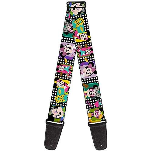 Guitar Strap Mini Minnie Fashion Poses Polka Dot Black White Multi Color 2 Inches Wide
