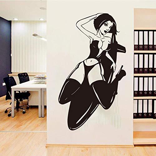 KBIASD Aplique de arte de pared femenino sexy Lady Girl dormitorio vinilo pegatina de pared extraíble decoración del hogar Mural artístico pegatina de pared de vida 58 X 34 CM