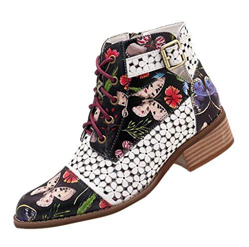 Stiefel Damenschuhe Tinte Malerei Blumenmuster Kuh Leder Spleißen Lace Up Stitching Ankle Boots Winterstiefel Damen