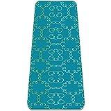 Esterillas de yoga antideslizantes con correa de transporte y bolsa para ejercicios de pilates (72 pulgadas x 32 pulgadas x 6 mm) floral árabe con patrón verde azulado