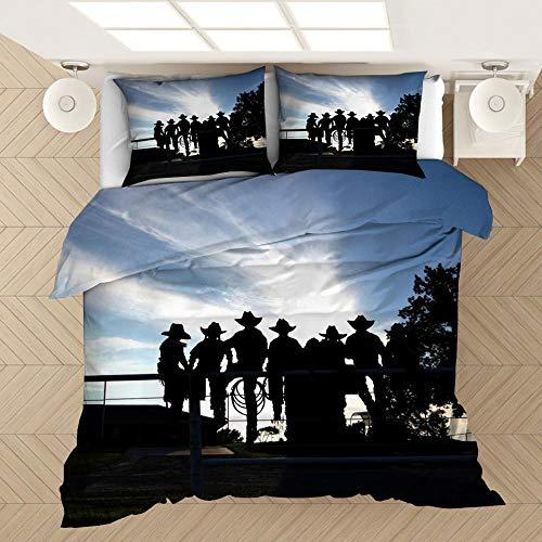 Juego de cama de mezclilla impresa en 3D, funda nórdica para niños adultos y adolescentes, funda nórdica con patrón de mezclilla occidental ropa de cama textiles para el hogar-F_140x210cm (2pcs)