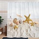 Duschvorhang, Anti-Schimmel Strand Seesterne Und Muscheln Wasserabweisend Waschbar Duschvorhäng Polyester Badvorhang 120 x 200 cm