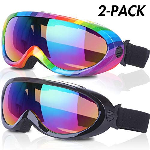Rngeo Ski Goggles, Pack of 2, Snowboard Goggles for Kids, Boys & Girls, Youth, Men & Women, with UV...