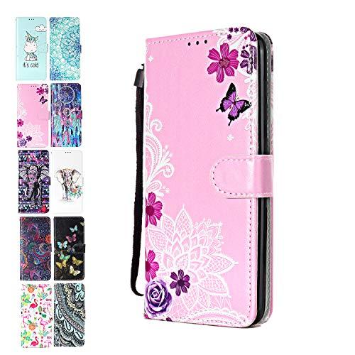 Ancase Lederhülle kompatibel für Samsung Galaxy A10 / M10 Hülle Lotus-Spitze Blume Muster Handyhülle Flip Hülle Cover Schutzhülle mit Kartenfach Ledertasche für Mädchen Damen
