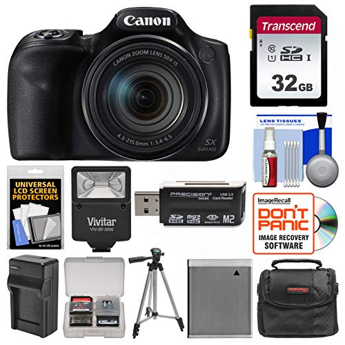 Canon PowerShot SX540 HS Wi-Fi Digital Camera with 32GB Card + Case + Flash + Battery & Charger + Tripod + Kit