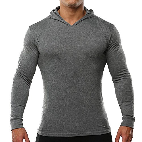 palglg Men's Bodybuilding Tapered Slim Fit Sweatshirts V Neck Active Hoodies Grey S