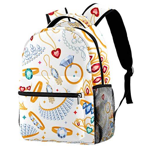 Mochila de joyería con anillos de diamantes y perlas y piedras preciosas para la escuela, mochila para senderismo, mochila de viaje