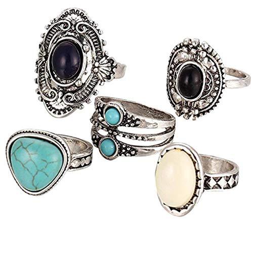 Preisvergleich Produktbild Simiday 5PCS Weinlese-Legierung Schwarz Weiß Calaite Gemstone hohles Muster Ringe Frauen Exquisite Schmuck-Set