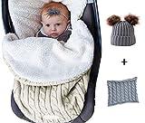 Saco de dormir para bebé, Manta de cochecito de lana de punto,Manta para bebé recién nacid,Beigeo con terciopelo,Saco de Dormir de Punto de Ganchillo, Carrito de Bebé Blanket Manta de 0 a 12 meses