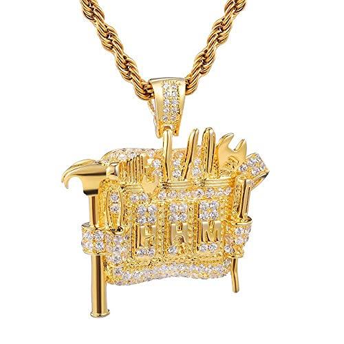 Männer Hip Hop vereist bling Werkzeugschrank Anhänger Micro Pave Halsketten HipHop Anhänger...