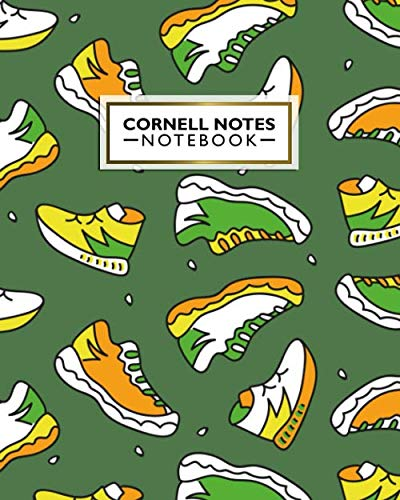 Cornell Notes Notebook: Cute Large Cornell Note Paper Notebook - College Ruled Medium Lined Journal Note Taking System for School and University - Nifty Cartoon Sneakers Pattern