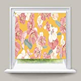 YOGUR66 - Cortinas térmicas Opacas para Ventana, diseño Floral sin Costuras, Color Amarillo Pastel y Resistente a los Rayos UV, Verticales, Triangulares