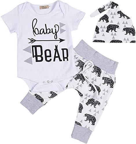 Geagodelia 3tlg Babykleidung Set Baby Jungen Kleidung Outfit Body Strampler + Hose + Mütze Neugeborene Kleinkinder Weiche Babyset Tier (0-3 Monate, Bär (Weiß 526 - Kurzarm))