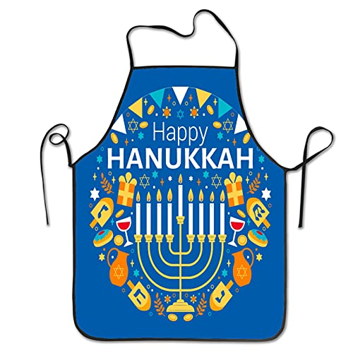 Watercolor hanukkah illustratio Aprons for Men Women for Grilling Cooking Chef Kitchen Crafting BBQ Outdoors