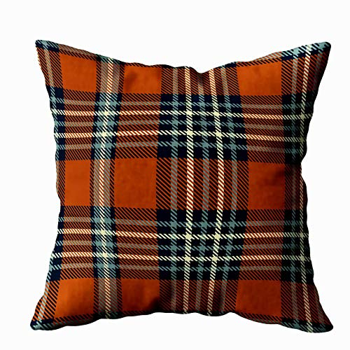 TOMKEY Throw Pillow Covers, Hidden Zippered 16X16Inch Plaid Pattern in Sienna Red Dark Navy Dusty Blue Cream Decor Throw Cotton Pillow Case Cushion Cover for Home Decor