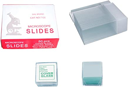 YBB 100-Pieces Blank Microscope Slides /& 200-Pieces Square Cover Glass Prepared Microscope Slide Set for Basic Biological Science Education