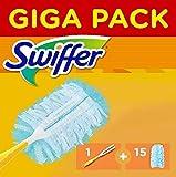 Swiffer Plumero Kit con 1 Mango y 15 Recambios, Atrapa y Retiene hasta 3 Veces más el Polvo y el Pelo que un Plumero de Plumas Convencional