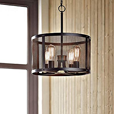 KARMIQI 4-Light Industrial Pendant Light Fixture Bulbs Included, Vintage Farmhouse Black Metal Cage Hanging Ceiling Light, Drum Chandelier with Adjustable Chain for Kitchen Island Dining Room