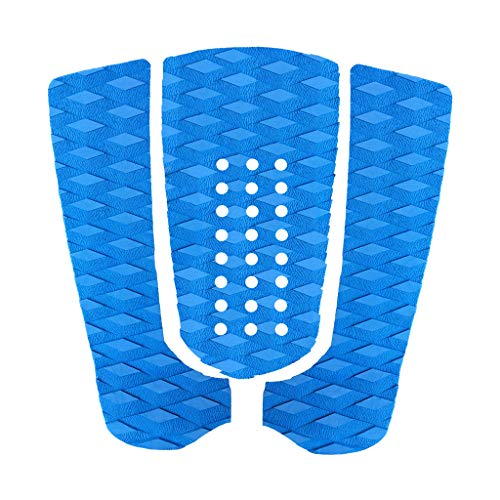 Seafard 3 Piece EVA Surfboard Deck Traction Pads, Surf Traction Pad with Kicker for Stomp Skimboards, Surf Boards, Funboard, Fish Board, (Blue)