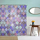 IcosaMro Purple Shower Curtain for Bathroom with Hooks, Mermaid Scales Geometric Boho Lavender Mosaic Long Cloth Fabric Shower Curtain Bath Decorations, 71Wx72L, Purple