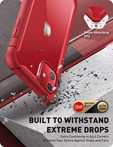 i-BLASONiPhone11ケース2019液晶保護フィルム付き米国軍事規格取得360°保護耐衝撃防塵クリアQi充電対応Aresシリーズ(iPhone11,透明/赤)