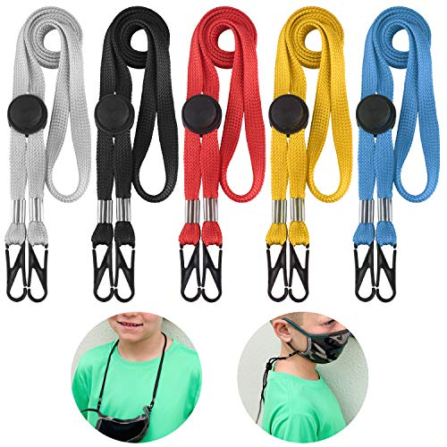Lanyards for Kids 5 Pack - Adjustable Length Face Lanyard with Clips On Both Ends The Neck Rest Ear Saver for School Outdoor Sport (5 Color)…