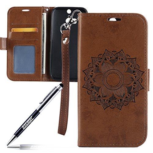 Kompatibel mit HTC ONE M8 Hülle,HTC ONE M8 Tasche,JAWSEU Lederhülle für HTC ONE M8 Handyhülle Wallet Hülle Flip Hülle Brieftasche,Mandala Blumen Muster PU Leder Tasche Flip Hülle Braun