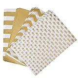 Naler 300 Hojas de Papel de Seda para Envolver Regalos Embalaje DIY Manualidades Color Dorado y Blanco 4 Estilos