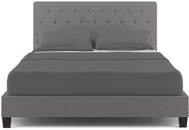 Bed Frame Upholstered Fabric Wooden Headboard Mattress King Base - Grey