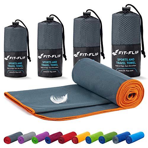 Fit-Flip Mikrofaser Handtuch Set – 18 Farben, viele Größen – Ultra leicht & kompakt – das perfekte Sporthandtuch, Strandhandtuch und Reisehandtuch (40x80cm, Dunkelgrau - Orange)
