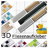 Grandora 5 adhesivos 27,9 x 4,3 cm cobre gris oscuro plateado ladrillo etiqueta adhesiva Design 7 I 3D diversidad lámina para azulejos y baldosas Cocina de baño pegatina de pared decoración de azulejos W5288