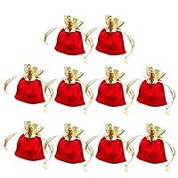 BESTOYARD ジュエリーポーチ 巾着袋 アクセサリー 収納 ベロア調 ギフトバッグ ジュエリー袋 小物入れ プレゼント用 7x9cm 10枚セット(赤と金)