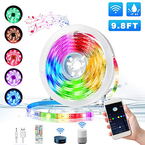 Tiras LED Wifi 3M, KNMY USB Tira LED con Control de Voz...