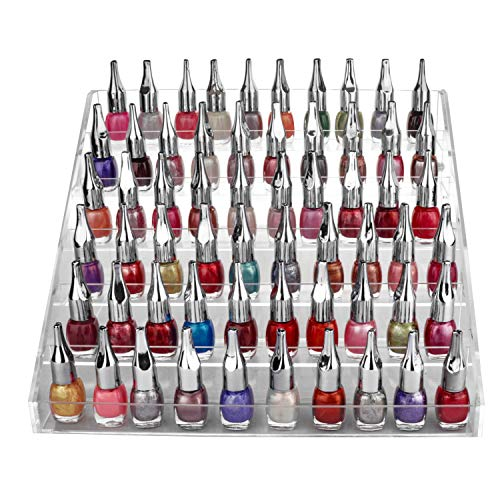 Kurtzy 6-stufiger Klar Nagellack-Organizer mit Kunststoffschrauben - Acryl-Nagellack Halter (18,5 cm x 30 cm x 23,5 cm) - Emaille-Standständer für bis zu 60 Nagellackflaschen in Standardgröße