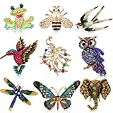 Hicarer 9 Pieces Woman Animal Brooch Pins Set Vintage Crystal Pin Dragonfly...