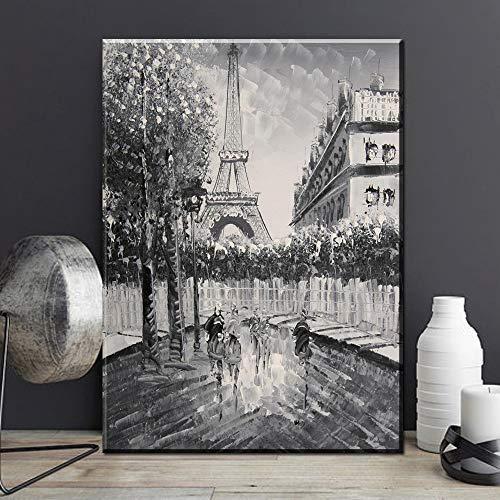 Canvas Home Painting Art Deco Zwart-witte toren met paraplu Romantische foto op Paris Street No Frame 70X100Cm