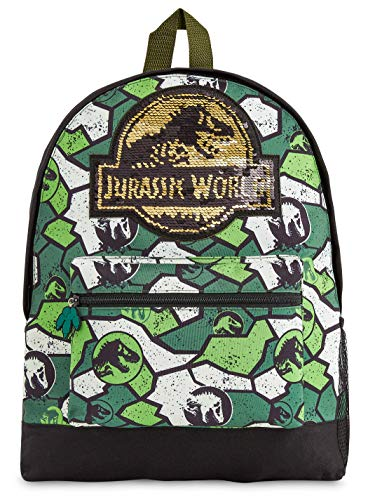 Jurassic World School Bag, Jurassic Park Kids Backpack with Camouflage Print, Indominus Rex Rucksack Backpack with Sequin Design for School Travel, Dinosaur Gifts for Boys Girls Teens