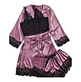 Finerun Women's Pyjama Sets 3 Pieces Sexy Basic Underwear Set Lace Slim Robe Camisole Nightwear and Knickers Sleepwear Pajama Sets