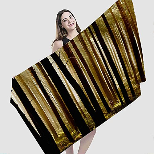 """Art Beach Towel,Golden Morning Impression Forest Real Drawing Interesting Pop Art,Microfiber Super Absorbent Beach Blanket for Travel Beach Camping Swimming Outdoor Towel Mat,27""""x55"""""""
