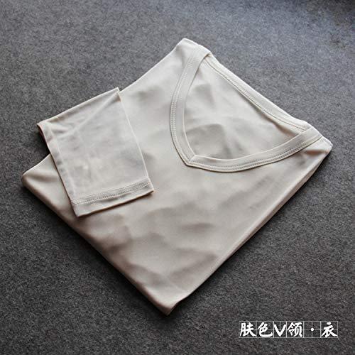 RSL Mannen herfst en winter van zijde met ronde hals uit zijde gebreid rond de hals van Tokar-shirt, warme pakken Qiuyiqiuku (Kleur: V-hals, Maat: XL)