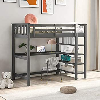 Wood Twin Loft Bed with Desk and Book Shelves Twin Size High Loft Bunk Bed Frame for Kids and Teens 300 lbs Weight Capacity.Grey