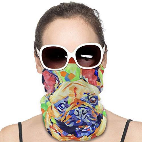 French Bulldog Cute Dog Funny Fawn Art Headband Headwear Windbreak Scarf Face Mask Washable Dust Mask Balaclava Neck Bandana